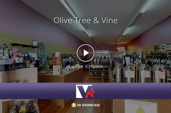 Olive Tree Vine Store presented by VRMedia with 360 VR TOUR, online photo quality 3D displays.