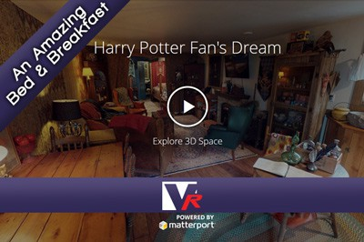 Insided Harry Potter fan house with 3D 360 VR TOUR, online photo quality displays, great for bed and breakfast.